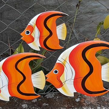 Decoração parede peixes laranja