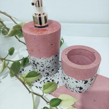 Kit Lavabo Amor - Granilite Branco e Rosa