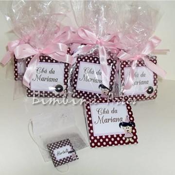 Sachê de Chá personalizado marrom e rosa