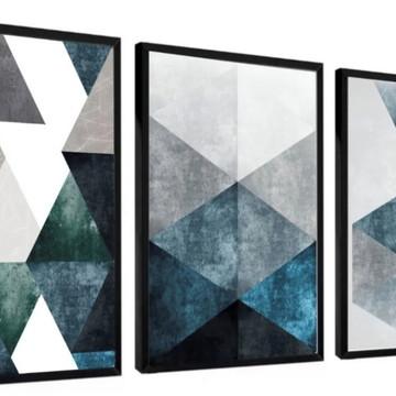 Kit 3 Quadros Decorativos Conjunto Abstrato Geométrico Azul