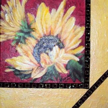 Painel de tela girassol com decoupagem