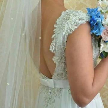 Véu de noiva longo tule e pérolas- 3m x 1,5 m larg.-Elas.Cia