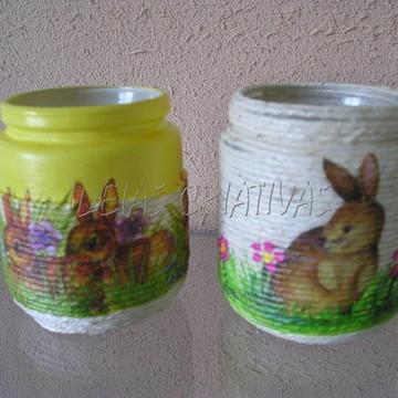 vidrinhos reciclados decorados páscoa