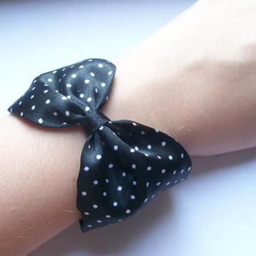 Bracelete Lenço Laço Pois preto