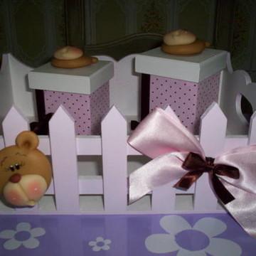 kit higiene Ursa rosa com Marrom