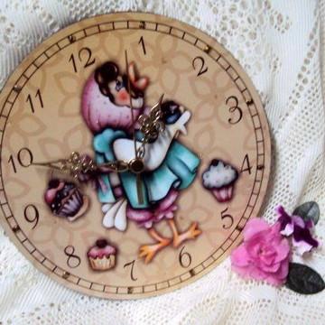Relógio de parede mdf: galinha cupcake