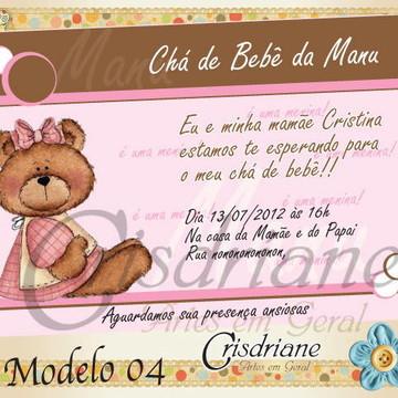 Convite chá de bebê marrom e rosa