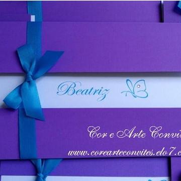 Convite 15 anos Promoção - Lilás e azul