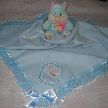manta em soft azul lisa