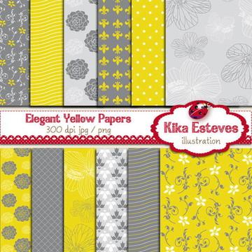 Papéis Digitais Amarelo Elegante