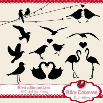Clipart Silhuetas de Pássaros