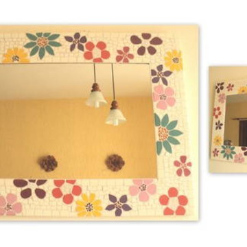 Espelho mosaico floral horizontal