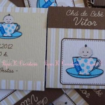 Convite de chá de bebê com sachê de chá