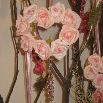 mini-guirlanda rosa de coração