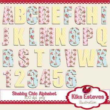 Alfabeto Digital Rosa Vintage
