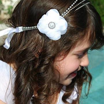 Headband STRASS prata & flor