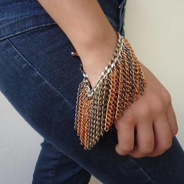 Maxi pulseira franja de correntes