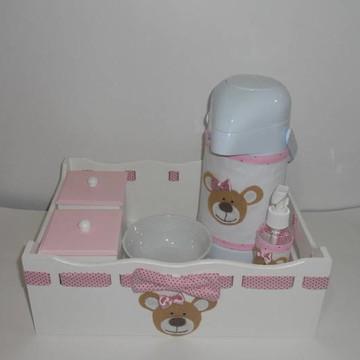 kit higiene ursa rosa poá marrom