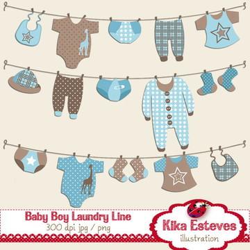 Clipart Varal do Bebê Menino