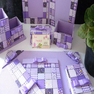 kit escritorio patchwork lilas