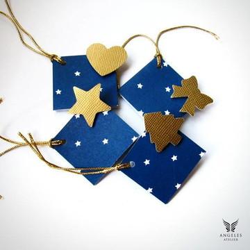 Kit 4 Tags Natal Azul