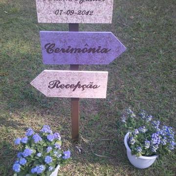 Placa de jardim - casamento
