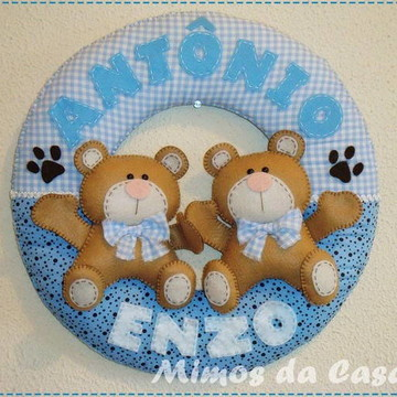 Enfeite De Porta Maternidade Urso gêmeos