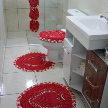 Jogo De Banheiro Coração Vermelho