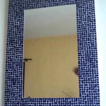 Espelho mosaico pastilhas azul marinho