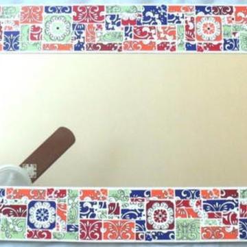 Espelho mosaico azulejos estamps color