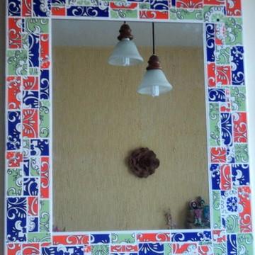 espelho mosaico azulejos coloridos vert