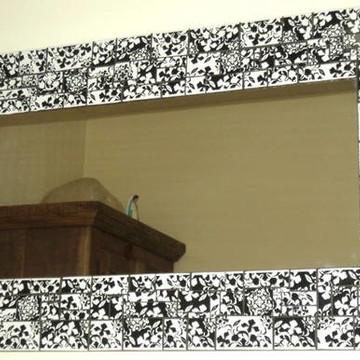 espelho mosaico azulejos estamp preto