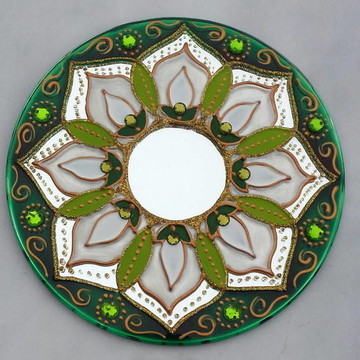 Mandala lírio da Paz em espelho de 15cm