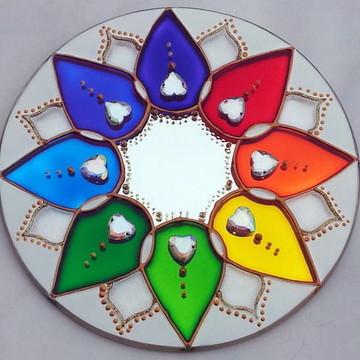 Mandala 8 Pétalas em espelho de 15cm