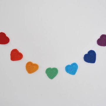Varal Coração Médio Crochê