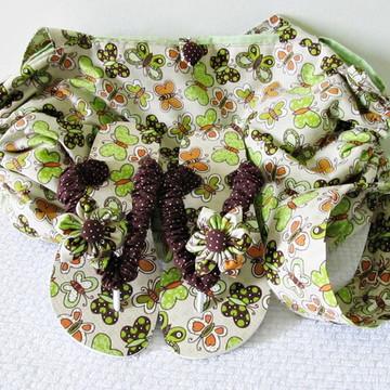 bolsa toalha,chinelo customizado e tiara