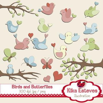 Clipart Pássaros e Borboletas