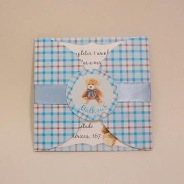 Convite Mini Infantil Ursinho Azul