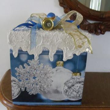 Caixa Para Panetone Natal em azul