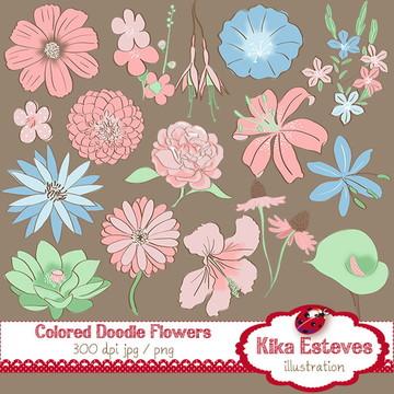 Clipart Flores em Pastel