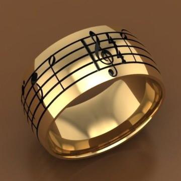 Par Aliança Personalizada Notas Musicais