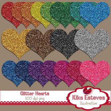 Clipart Corações Glitter