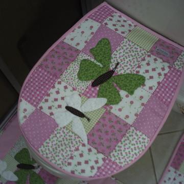 Jogo de Banheiro Rosa Borboletas 03 peças