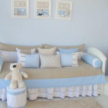 Kit cama babá azul e bege