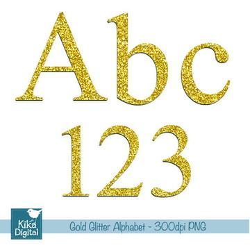 Alfabeto Digital Glitter Dourado
