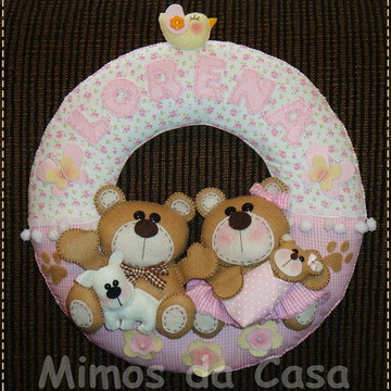 Enfeite De Porta Maternidade Urso e Ursa