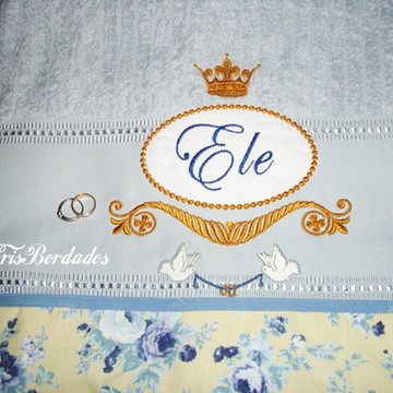 Toalha de casamento bordada