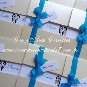 Convite Janela dourado e azul