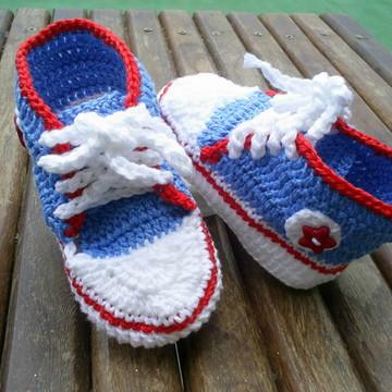 Tênis de Crochê Azul Claro