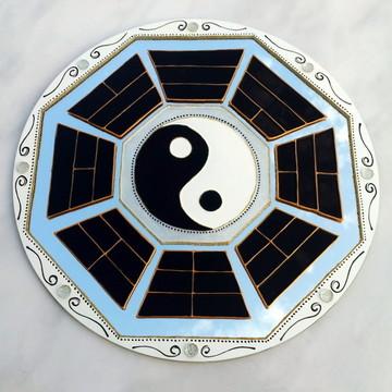 Baguá Yin Yang em espelho de 25cm